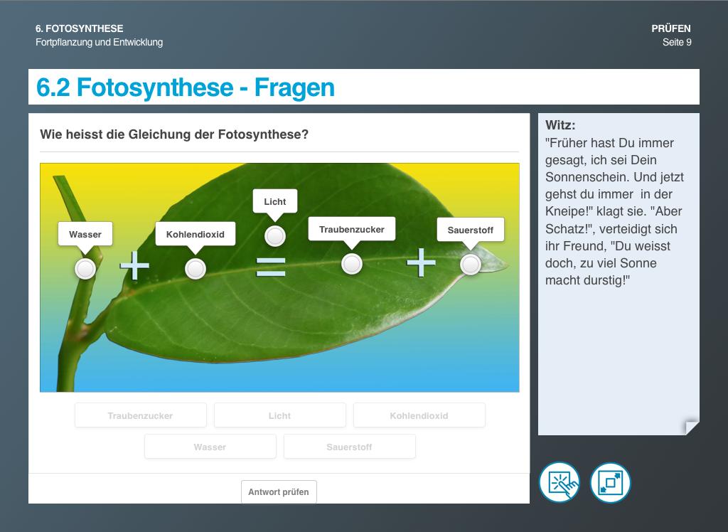 Fortpflanzung und Entwicklung Fotosynthese Fragen