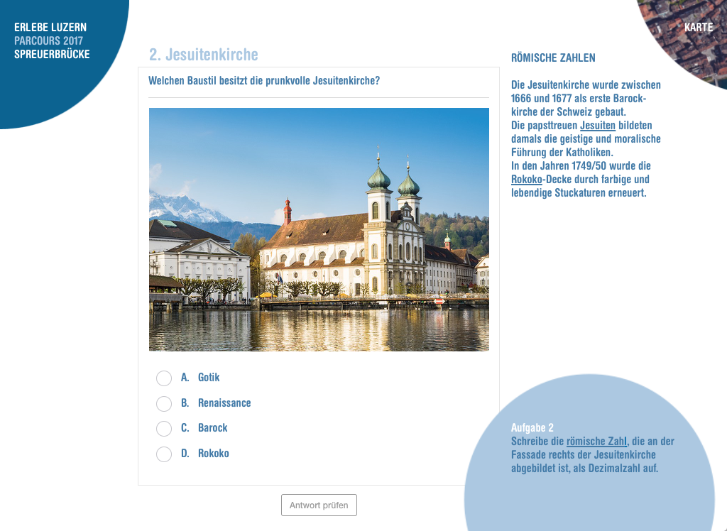 Erlebe Luzern Parcours Spreuerbrücke Jesuitenkirche